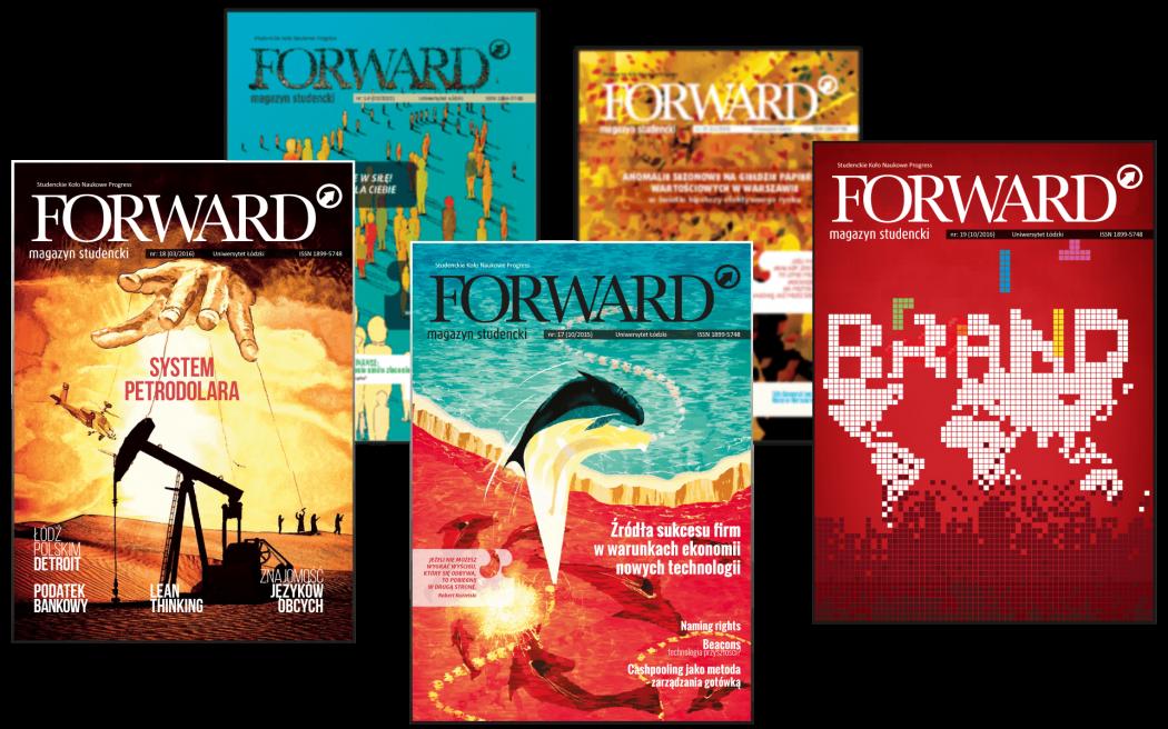 Projekty graficzne okładek Magazyn Forward